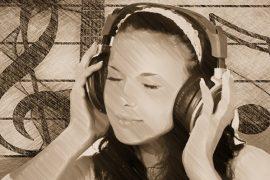 girl listening music portrait